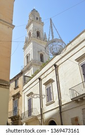 View of the Belltower of Lecce Cathedral (Duomo di Lecce).Italian city is well known as Florence of the South because of large number of architectural in barogue style.