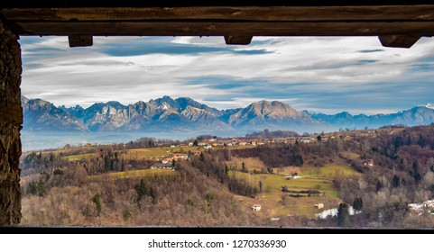 View of the Belluno mountains from the castle of Zumelle in Mel, at the Borgo val Belluna, Belluno - Italy