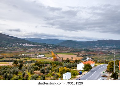 View from Belmonte (Beautiful mountain) village towards municipality in the district of Castelo Branco, Portugal