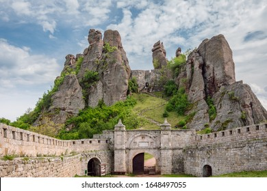 View of the Belogradchik Fortress. The rock formations create a natural fortress with a high defensive potential. Ancient fortress located on the north slopes of the Balkan Mountains, Bulgaria.