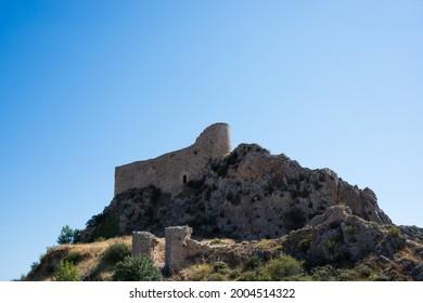 View from below of Las Rojas Castle, on top of a hill at Poza de la Sal, Merindades, Burgos, Spain, Europe