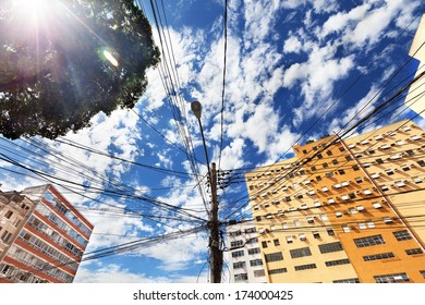 View from below of lines on power pole in Rio de Janeiro, Brazil