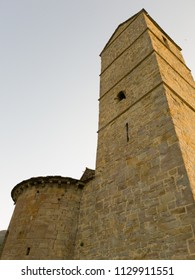 view from below of medieval tower