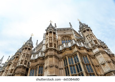 View from below of Palace of Westminster, seat of the Parliament of the United Kingdom