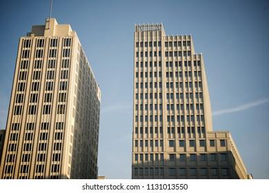 View from below of a skyscrapers in Postdamer Platz, Berlin, Germany.