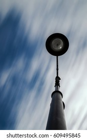 View from below of a street lamp