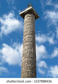 A view from below of Trajan's Column in Rome, Italy.  It is known as Colonna Traiana in Italian, and is a triumphal column that commemorates a war victory that was completed in AD 113.