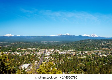 View of Bend and part of the Cascade Mountain Range in Central Oregon