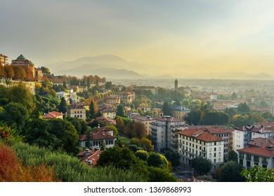 View of Bergamo city from Porta San Giacomo gate at morning. Italy