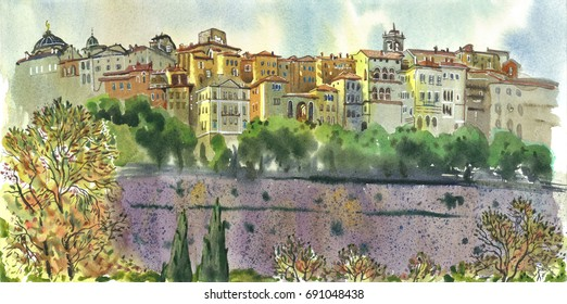 View of Bergamo old town, Citta Alta. Italy. Beautiful summer panorama. Hand drawn watercolor painting. Travel illustration.