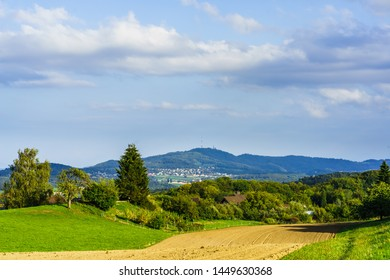 View from Bergdietikon to Uetliberg mountain with tv tower near zurich switzerland