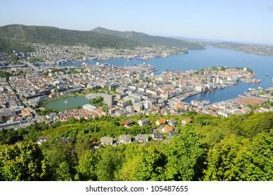 View of Bergen from Mount Floyen, Norway