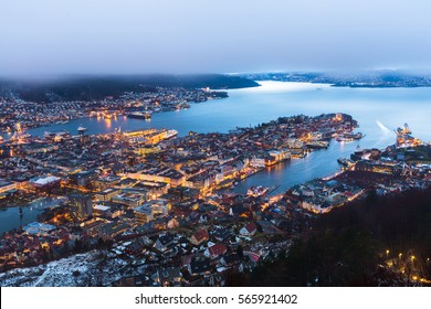 View of Bergen from the mountain top ,Norway