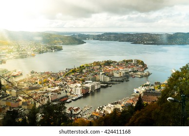 View of Bergen Norway from above