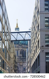 View of the Berlin Cathedral through modern urban development. Berlin Germany.