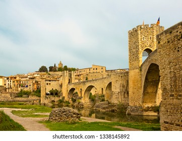 View of Besalu with medieval bridge gate and river in Girona province, Catalonia, Spain