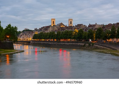 View of Besancon in a summer evening