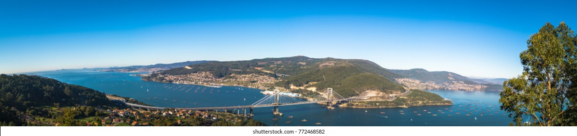 """View from the """"best chair of the world"""" in the Ria de Vigo, Galicia. Panorama made with several shots."""