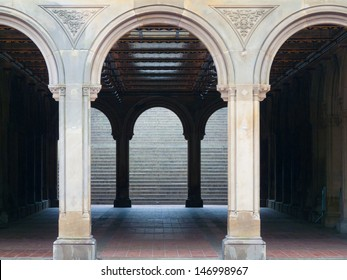 view of Bethesda Terrace in the heart of the Central Park in NYC