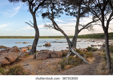 View between coastal tree branches with Indian Ocean views and  orange granite rock formations in Bunker Bay, Western Australia/Between the Trees: Bunker Bay/Indian Ocean, Western Australia