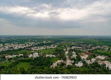View of Bhopal city with upper lake in backdrop from Manuabhan Tekri at Bhopal, Madhya Pradesh, India.
