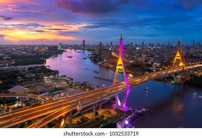 View of Bhumibol Bridge in Bangkok