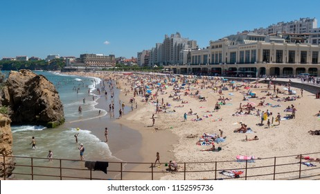a view of Biarritz beach by the Atlantic ocean, France