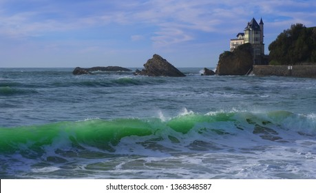 View of biarritz beach by the atlantic ocean france