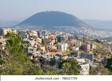 view of the biblical Mount Tabor and the Arab villages at its foot, neighborhood Nazareth, Israel