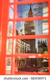 View of Big Ben reflected on a London telephone box window