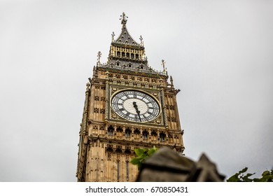 View of the Big Ben tower in London on a cloudy day, London, United Kingdom
