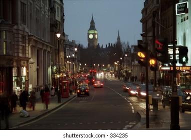 view of Big Ben from Trafalgar Square in London