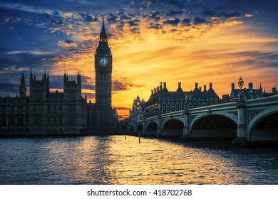 View of Big Ben and Westminster Bridge at sunset, London, UK