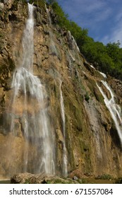View of the Big Fall (Veliki Slap) - the biggest waterfall which exists in the Plitvice Lakes National Park, Croatia