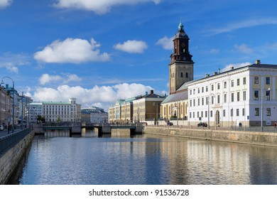 View of the Big Harbor Canal and Christina Church (Tyska Kyrkan) in Gothenburg, Sweden