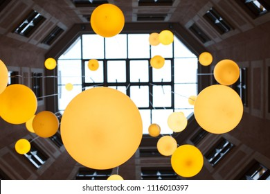 view up with big lamps