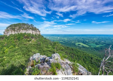 A view of the Big Pinnacle section of Pilot Mountain in North Carolina, USA