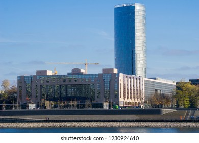 View of the Big Skyscraper Cologne Triangle and the Hyatt Regency in Cologne Germany 2018.