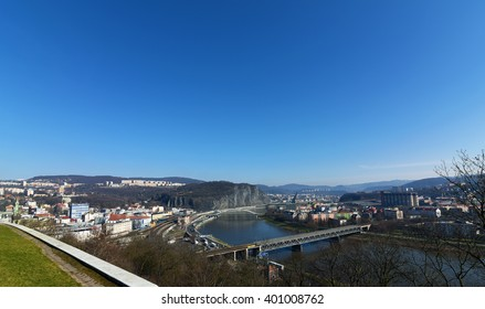 View for big town Usti nad Labem in spring time