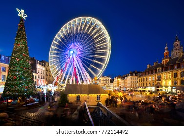 View of Big wheel on big place of Lille