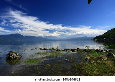 It is a view of the biggest lake at West Sumatera, Indonesia, Singkarak Lake