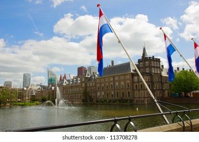 view of Binnenhof (Dutch Parliament) with flags, The Hague, Netherlands