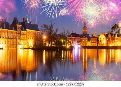 view of Binnenhof - Dutch Parliament with old town of The Hague with fireworks, Holland
