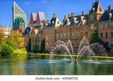 View of the Binnenhof palace on place of Parliament, The Hague, capital of Netherlands