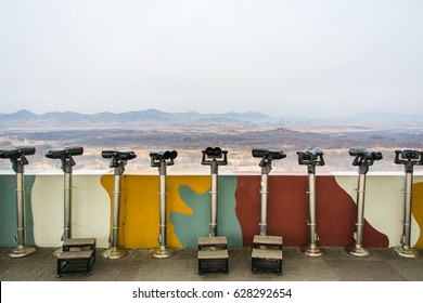 View with binoculars from Dora Observatory at South Korea and North Korea border (DMZ). 24 MAR 2017.