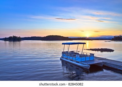 View at Birch Island located at Sudbury Ontario Canada during sunset