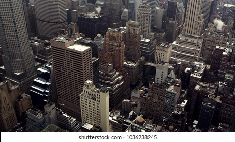 View from the bird's-eye view at in the evening in New York. USA