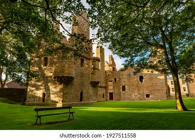 View to the Bishop's and Earl's Palaces, Kirkwall: Bishop's Palace near St Magnus Cathedral in Kirkwall, the capital of Orkney, in the far north of Scotland.