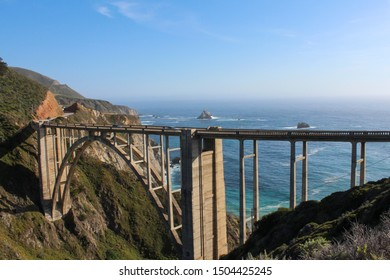 View of Bixby Creek Bridge from the Northeast along with pacific coastline, California, USA