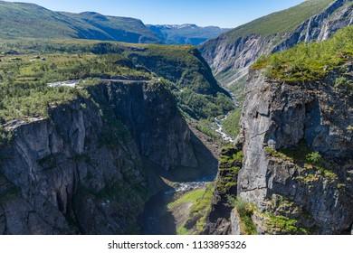 View of the Bjoreio river valley. Horizontal frame. National park Hardangervidda, EidFjord, Norway.